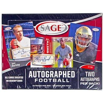 2013 Sage Autographed Football Hobby Box