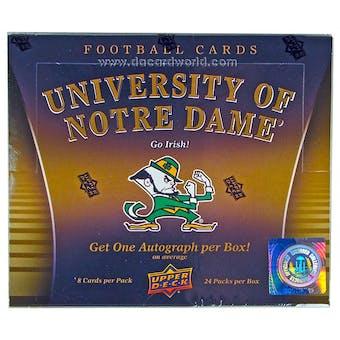 2013 Upper Deck University of Notre Dame Football Hobby Box