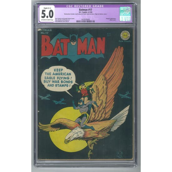 Batman #17 CGC 5.0 Slight (C-1) Restoration (OW-W) *1418165003*
