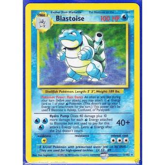 Pokemon Base Set 1 Single Blastoise 2/102 - Shadowless - SLIGHT PLAY (SP)