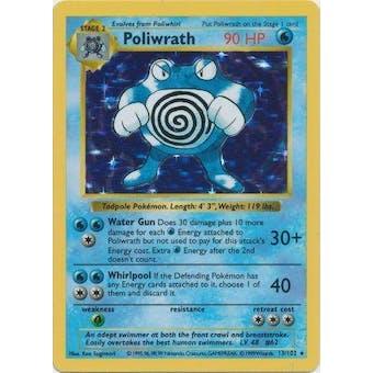 Pokemon Base Set 1 Single Poliwrath 13/102 - Shadowless - NEAR MINT (NM)