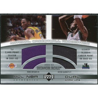 2002/03 Upper Deck Honor Roll Dual Warm-ups #KBKG Kobe Bryant Kevin Garnett