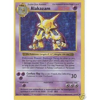 Pokemon Base Set 1 Single Alakazam 1/102 - Shadowless - SLIGHT PLAY (SP)