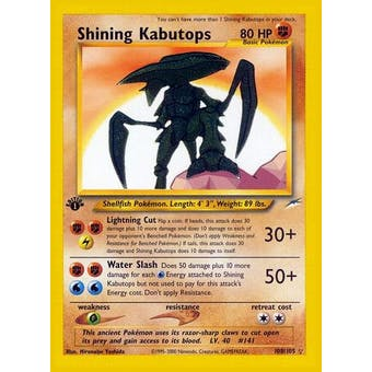 Pokemon Neo Destiny 1st Edition Single Shining Kabutops 108/105 - MODERATE PLAY (MP)