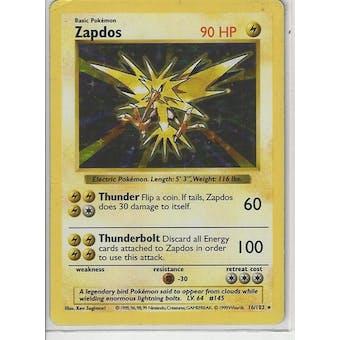 Pokemon Base Set 1 Shadowless Single Zapdos 16/102 - SLIGHT PLAY (SP)