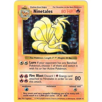 Pokemon Base Set 1 Single Ninetales 12/102 - Shadowless - NEAR MINT (NM)