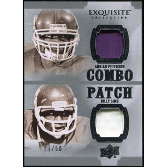 2010 Upper Deck Exquisite Collection Patch Combos #AB Billy Sims Adrian Peterson /50