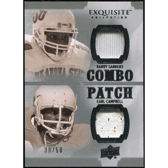 2010 Upper Deck Exquisite Collection Patch Combos #SC Earl Campbell Barry Sanders /50