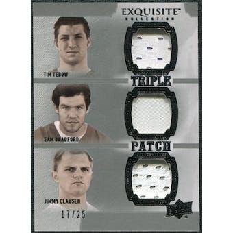 2010 Upper Deck Exquisite Collection Patch Trios #TBC Sam Bradford Tim Tebow Jimmy Clausen /25