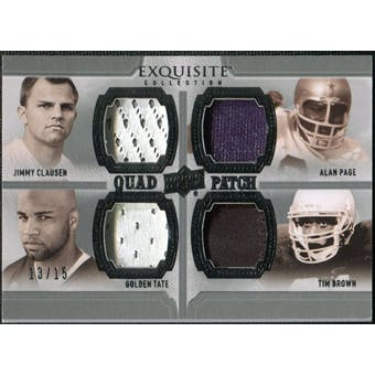 2010 Upper Deck Exquisite Collection Patch Quads #CPTB Jimmy Clausen/Golden Tate Tim Brown Alan Page /15