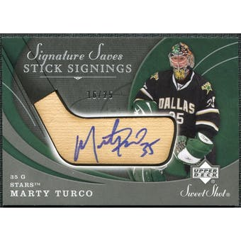 2007/08 Upper Deck Sweet Shot Signature Saves Stick Signings #SSSMT Marty Turco Autograph /25
