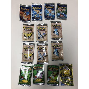 Pokemon 14x EMPTY Booster Pack Wrappers LOT (Base, Fossil 1st, Jungle 1st, Topps) - NO CARDS
