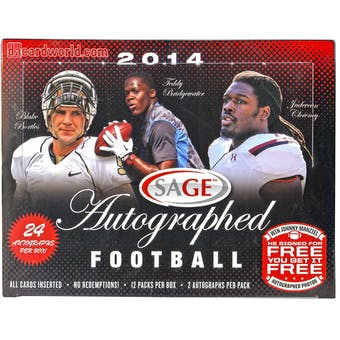 2014 Sage Autographed Football Hobby Box