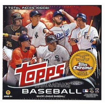 2014 Topps Chrome Update Baseball MEGA Box (5 Packs Topps Update/2 Packs Topps Chrome Update)