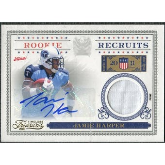 2011 Panini Timeless Treasures Rookie Recruits Materials Autographs Prime #20 Jamie Harper Autograph /25