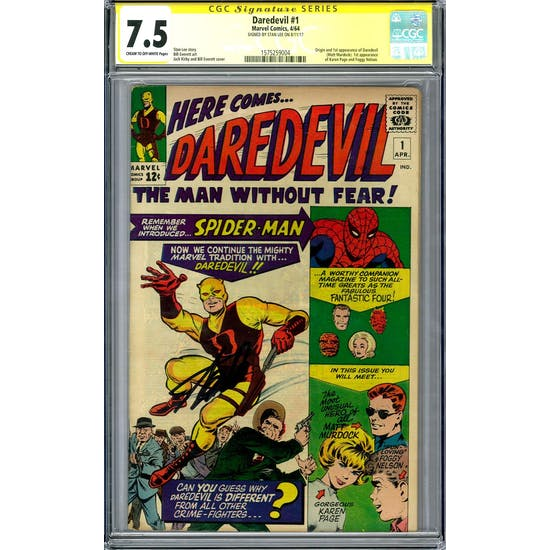 Daredevil #1 CGC 7.5 Stan Lee Signature Series (C-OW) *1575259004*
