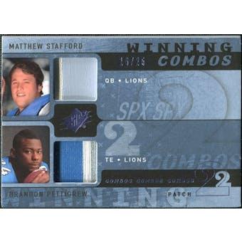 2009 Upper Deck SPx Winning Combos Patch #SP Matthew Stafford/Brandon Pettigrew /25