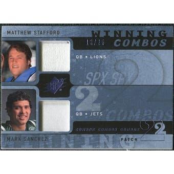 2009 Upper Deck SPx Winning Combos Patch #SS Matthew Stafford/Mark Sanchez /25