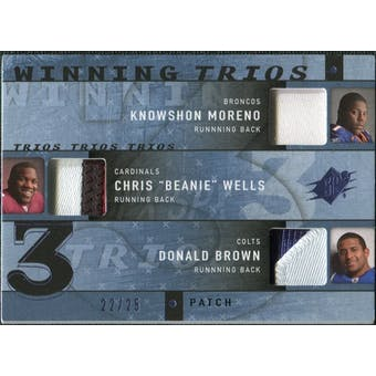 2009 Upper Deck SPx Winning Trios Patch #RRB Knowshon Moreno/Chris Wells/Donald Brown 22/25