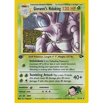Pokemon Gym Challenge 1st Edition Single Giovanni's Nidoking 7/132
