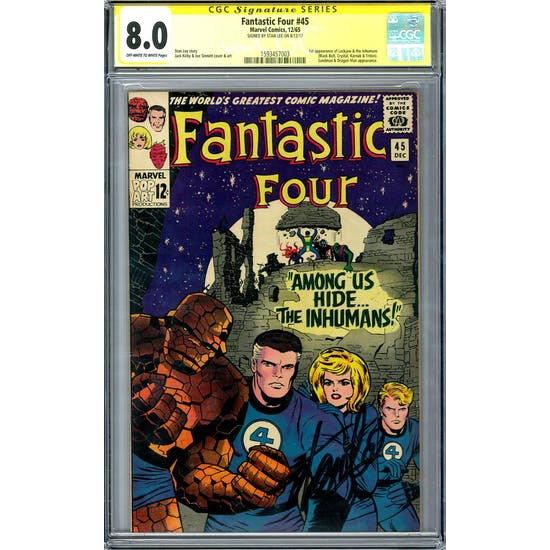 Fantastic Four # 45 CGC 8.0 (OW-W) Signed By Stan Lee *1593457003*