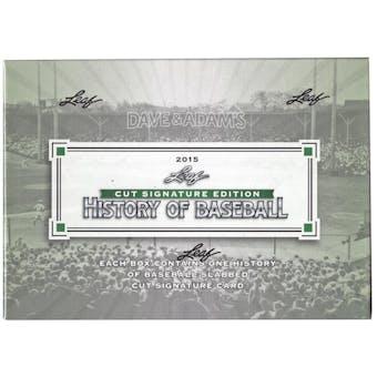 2015 Leaf History of Baseball Cut Signature Edition Baseball Box