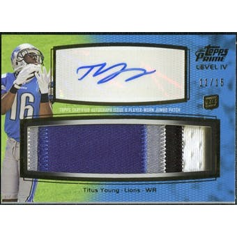 2011 Topps Prime Autographed Relics Level 4 #PIVTY Titus Young 11/15
