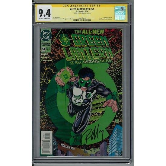 Green Lantern #v3 #51 CGC 9.4 Ron Marz Signature Series (OW-W)
