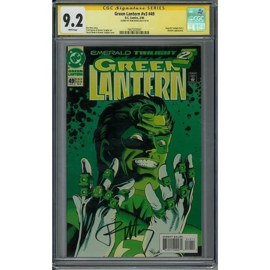 Green Lantern #v3 #49 CGC 9.2 Ron Marz Signature Series (W)