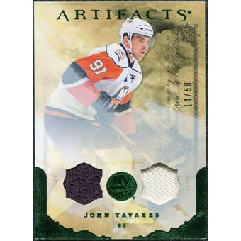 2010/11 Upper Deck Artifacts Jerseys Patches Emerald #9 John Tavares /50