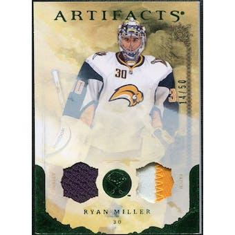 2010/11 Upper Deck Artifacts Jerseys Patches Emerald #11 Ryan Miller /50