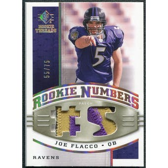 2008 Upper Deck SP Rookie Threads Rookie Numbers Holofoil Patch #RNJF Joe Flacco /75
