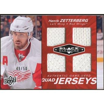 2010/11 Upper Deck Black Diamond Jerseys Quad Ruby #QJHZ Henrik Zetterberg 49/50