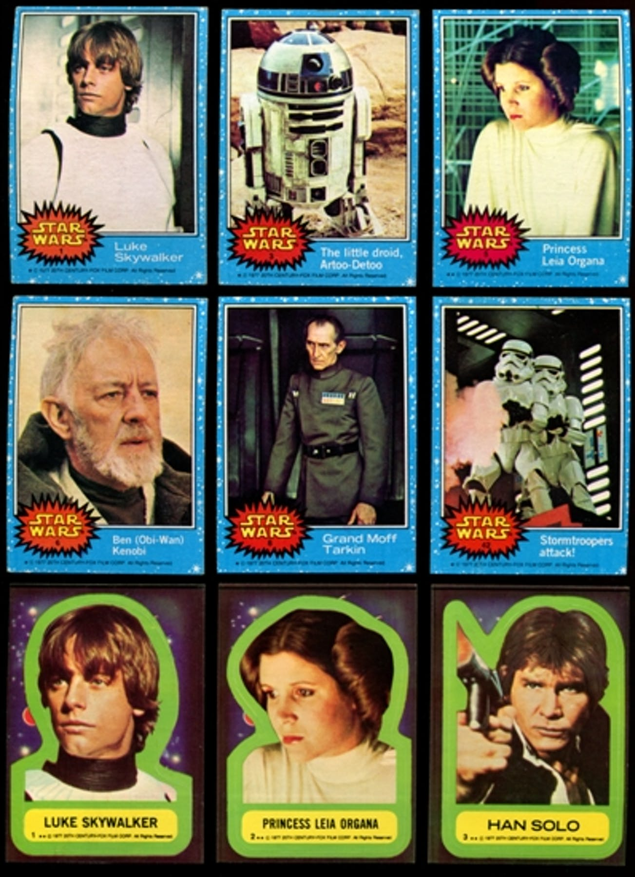 78d67c134eb Star Wars Series 1 (Blue) Complete Set w stickers (1977 Topps)
