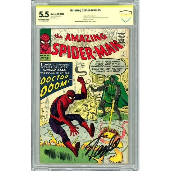 Amazing Spider-Man #5 CBCS 5.5 Stan Lee Signature (OW-W) *17-1646D11-007*