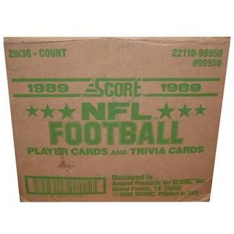 1989 Score Football Wax 20-Box Case