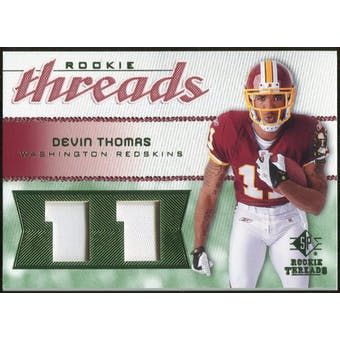 2008 Upper Deck SP Rookie Threads Rookie Threads Patch Jersey Number #RTDT Devin Thomas /11