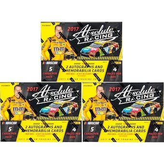 2017 Panini Absolute Racing Hobby Box (Lot of 3)