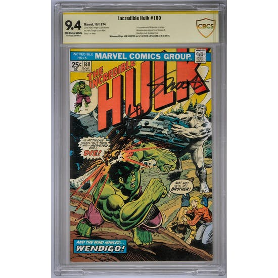 Incredible Hulk #180 CBCS 9.4 Signature Series Stan Lee Jim Shooter (OW-W) *18-12EE3DF-002*
