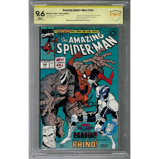 Amazing Spider-Man #344 CBCS 9.6 (W) Signature Series *18-309BF4D-019*