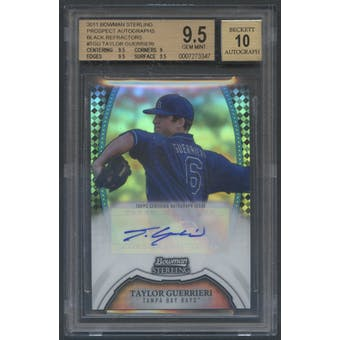 2011 Bowman Sterling Prospect #TGU Taylor Guerrieri Rookie Black Refractor Auto #05/25 BGS 9.5