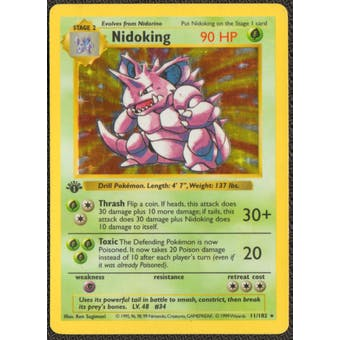 Pokemon Base Set 1 Single 1st Edition Nidoking 11/102 - HEAVY PLAY (HP)