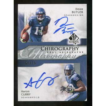 2009 Upper Deck SP Authentic Chirography Duals #BC Aaron Curry Deon Butler Autograph  75