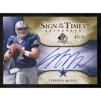 2009 Upper Deck SP Authentic Sign of the Times Gold #STSM Stephen McGee Autograph /25