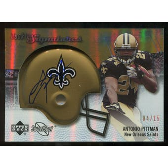 2007 Upper Deck Sweet Spot Rookie Signatures Gold #116 Antonio Pittman /15