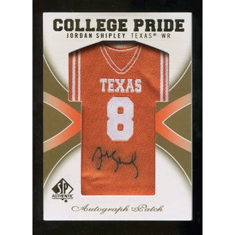 2010 Upper Deck SP Authentic College Pride Patch Autographs #JS Jordan Shipley Autograph