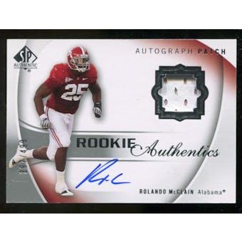 2010 Upper Deck SP Authentic #120 Rolando McClain RC Patch Autograph 397/499