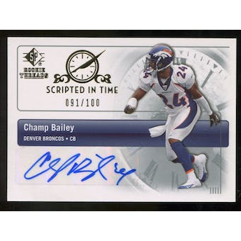 2007 Upper Deck SP Rookie Threads Scripted in Time Autographs #SITCB Champ Bailey Autograph /100