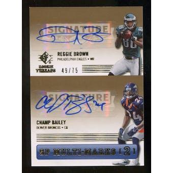 2007 Upper Deck SP Rookie Threads SP Multi Marks Autographs Dual #BB Champ Bailey/Reggie Brown Autograph /75
