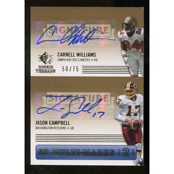 2007 Upper Deck SP Rookie Threads SP Multi Marks Autographs Dual #WC Cadillac Williams Jason Campbell /75